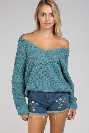Chenille Popcorn Sweater V Neck